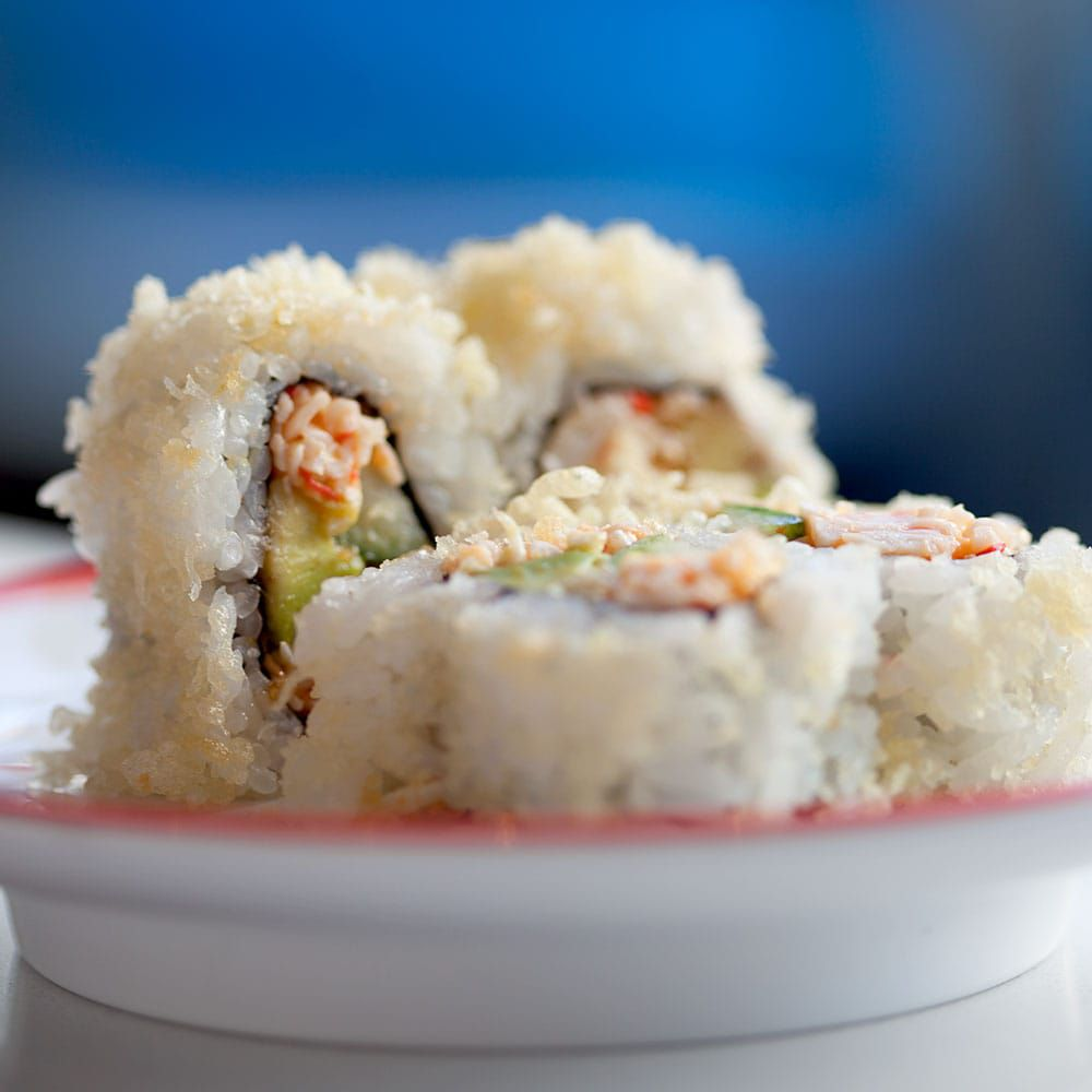 A view of a California roll from Blue C Sushi.