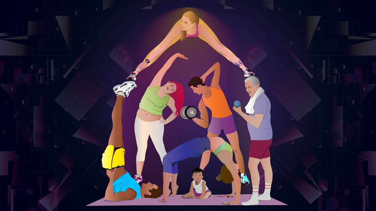 """Illustration of a """"house"""" made out of fitness trainers and people lifting weights and stretching"""