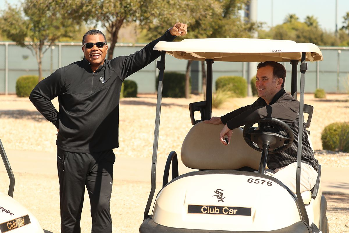White Sox vice president Ken Williams (left) and general manager Rick Hahn share a laugh at the team's spring training site on Wednesday.
