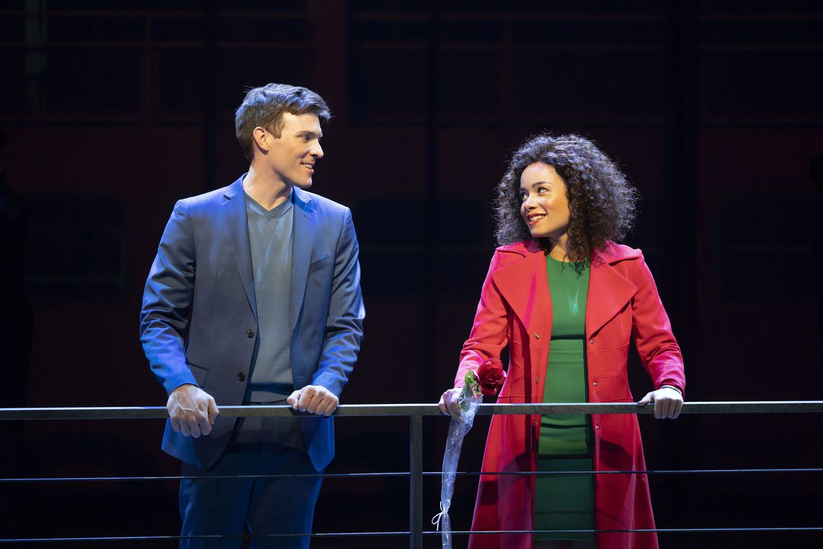"""Brantley Foster (Billy Harrigan Tighe) and Christy Lockhart (Sydney Morton) take a romantic ride on the Staten Island Ferry in Paramount Theatre's world premiere """"The Secret of My Success."""""""