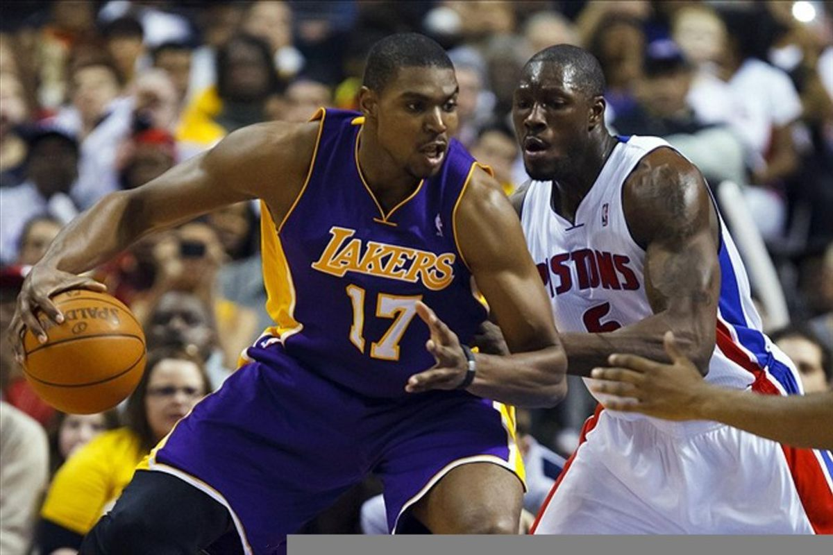 March 6, 2012; Auburn Hills, MI, USA; Los Angeles Lakers center Andrew Bynum (17) is defended by Detroit Pistons center Ben Wallace (6) in the second half at The Palace. Detroit won 88-85 in overtime. Mandatory Credit: Rick Osentoski-US PRESSWIRE