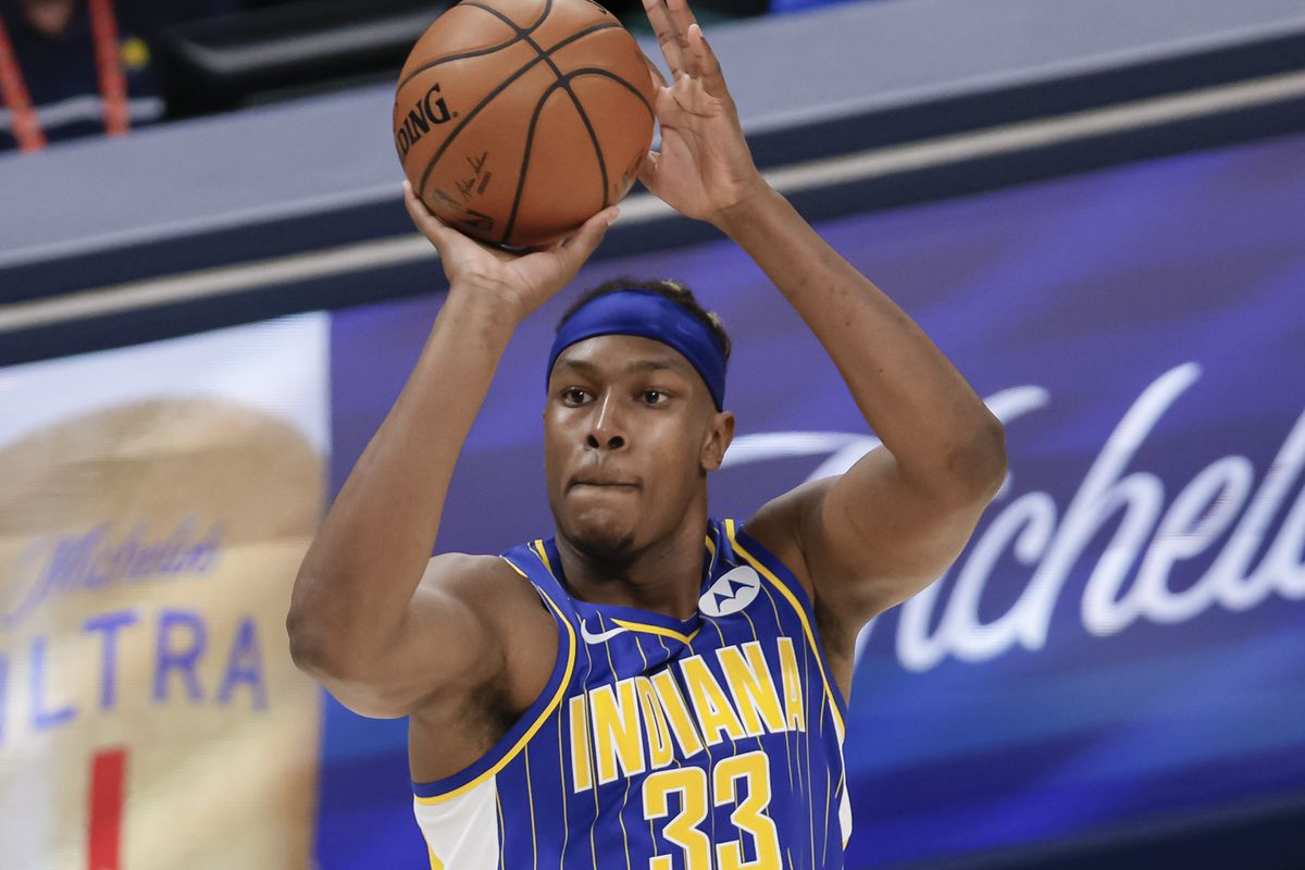 Myles Turner #33 of the Indiana Pacers shoots the ball during the game against the Chicago Bulls at Bankers Life Fieldhouse on February 15, 2021 in Indianapolis, Indiana.
