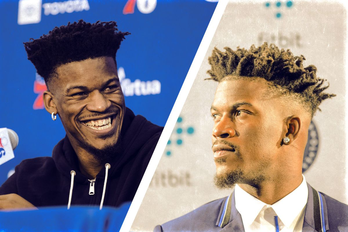 Images of Jimmy Butler at his opening press conferences in both Minnesota and Philadelphia