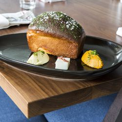 Warm Potato Bread— Cultured butter, goat butter, smoked squash, and sweet onion jam