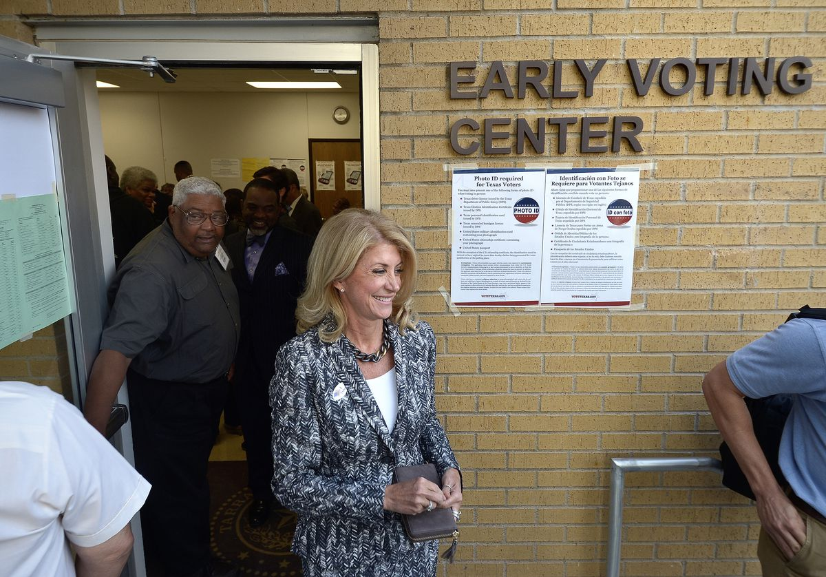 Wendy Davis, after voting early on October 20, 2014.