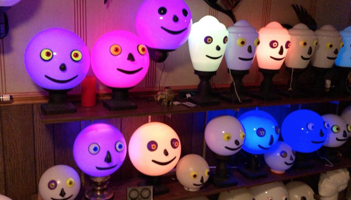 William Lange's lamps flash various colors when lit.