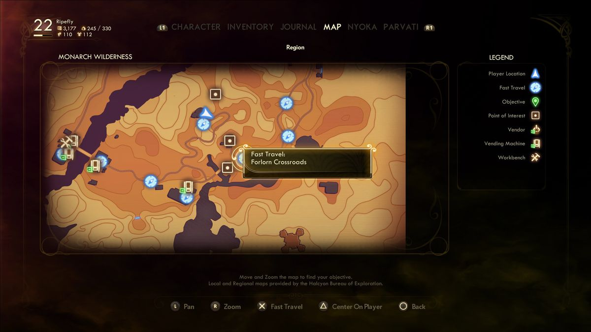 The Outer Worlds map menu fast travel icons
