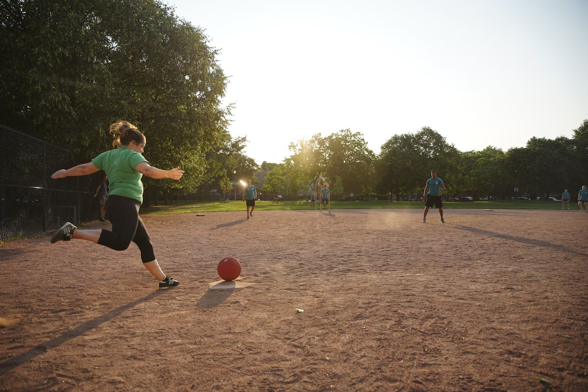 A Simply Social Sports kickball playoff game at Jonquil Park in Lincoln Park on Tuesday, July 27, 2021.