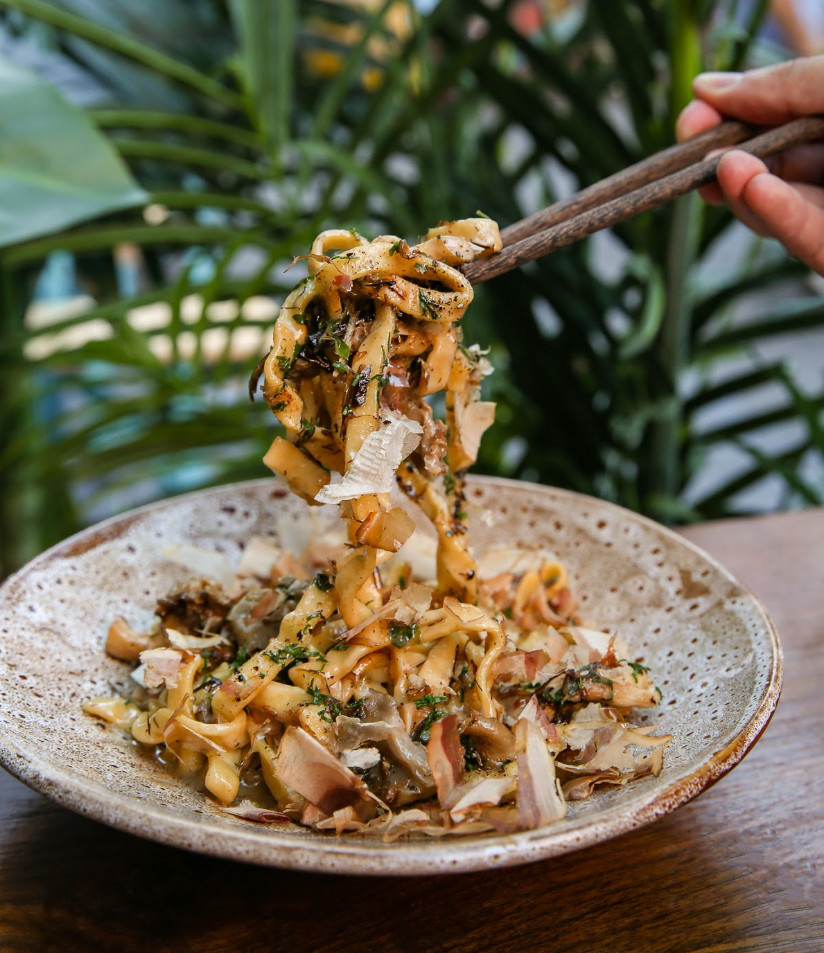 A hand partially off-screen hoists a strand of thick noodles into the air