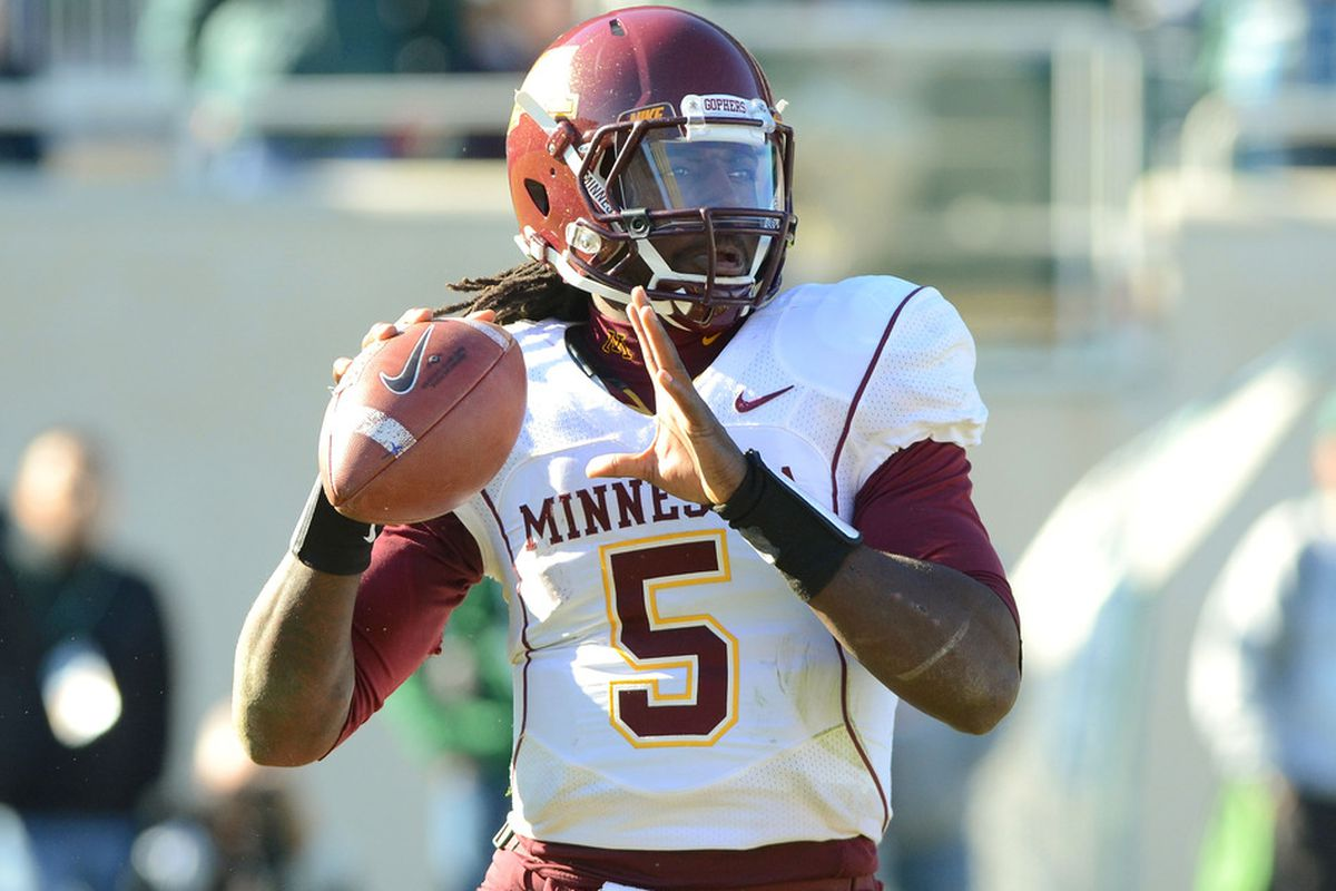 MarQueis Gray #5 of the Minnesota Golden Gophers Gophers.  (Photo by Mark A. Cunningham/Getty Images)