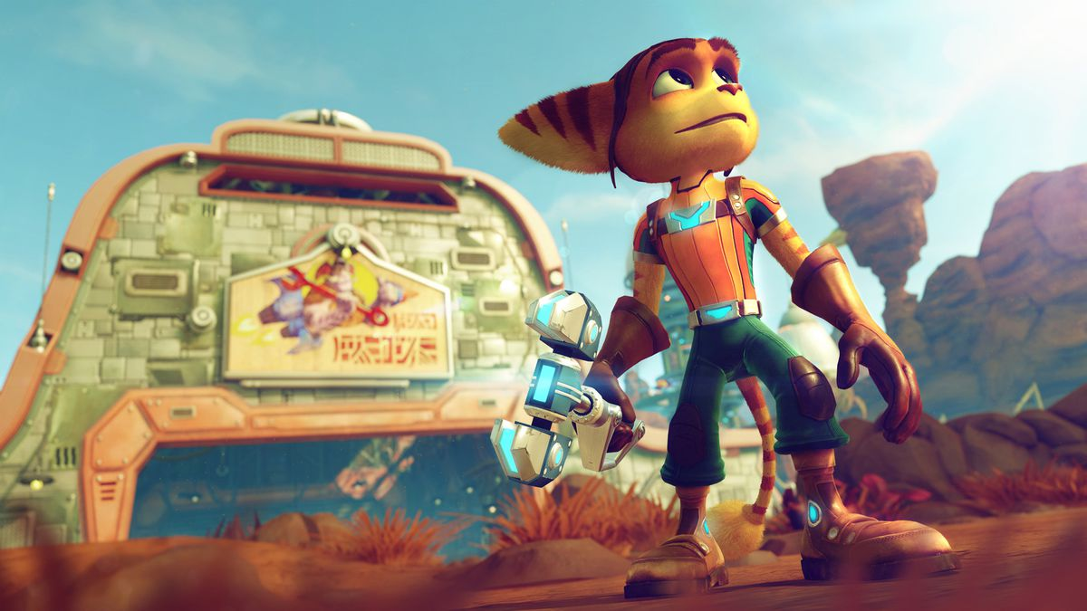 Ratchet looks to the sky in a screenshot from 2016's Ratchet & Clank for PS4