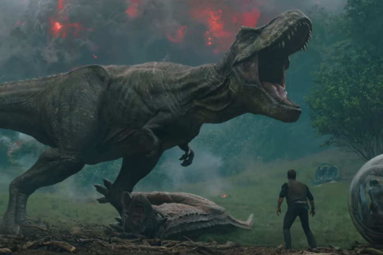 the first trailer for jurassic world fallen kingdom features dinosaurs and erupting volcanos