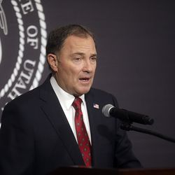 Gov. Gary Herbert speaks during the daily COVID-19 media briefing at the Capitol in Salt Lake City on Wednesday, April 22, 2020.