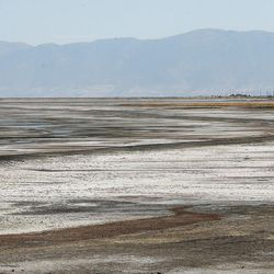 The water has receded on the Great Salt Lake on Friday, Sept. 2, 2016. The marina was last dredged in 2008 and needs to be dredged another 5 feet.