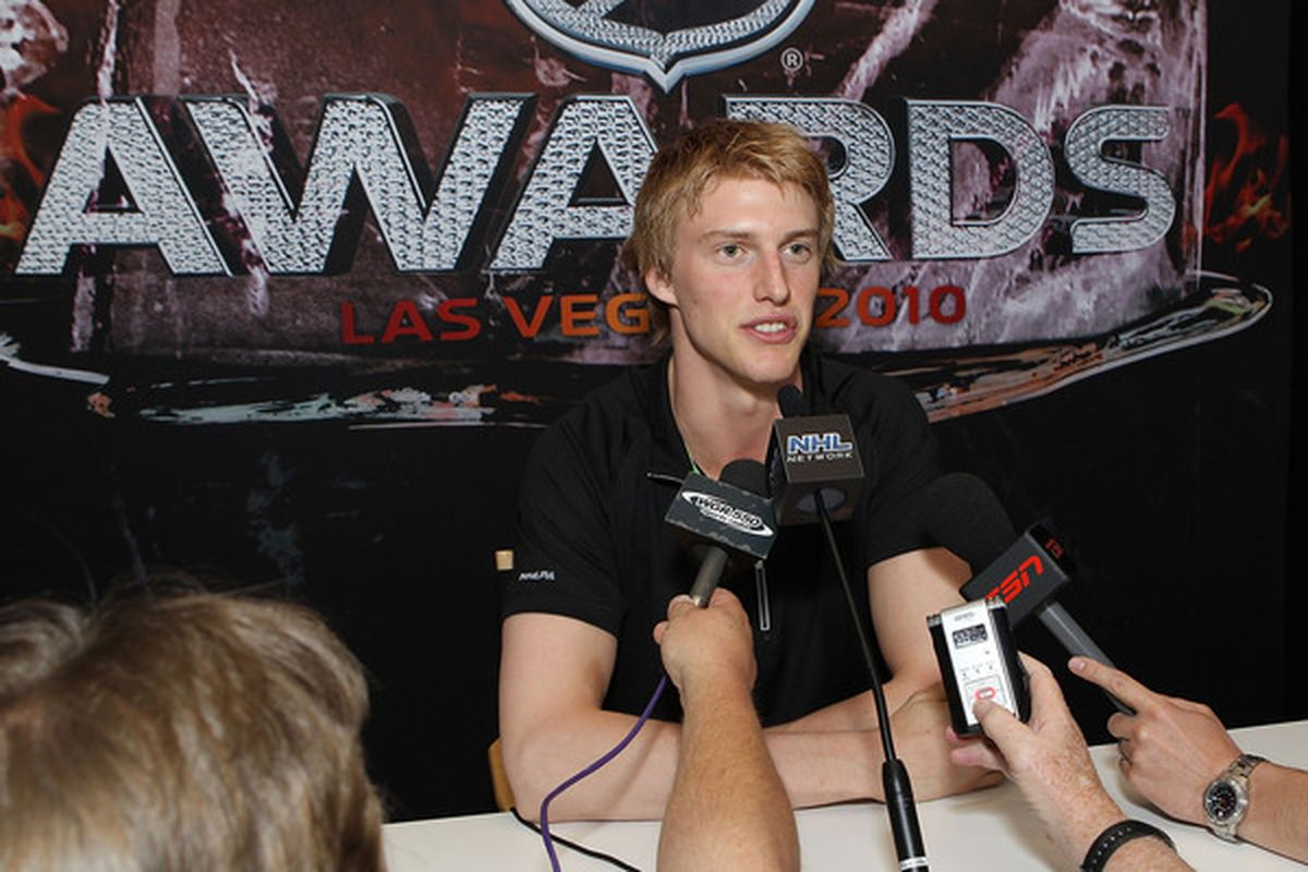 LAS VEGAS - JUNE 22: Rookie of the year candidate Tyler Myers of the Buffalo Sabres is interviewed by the media at the Palms Casino Resort on June 22, 2010 in Las Vegas, Nevada. (Photo by Bruce Bennett/Getty Images)