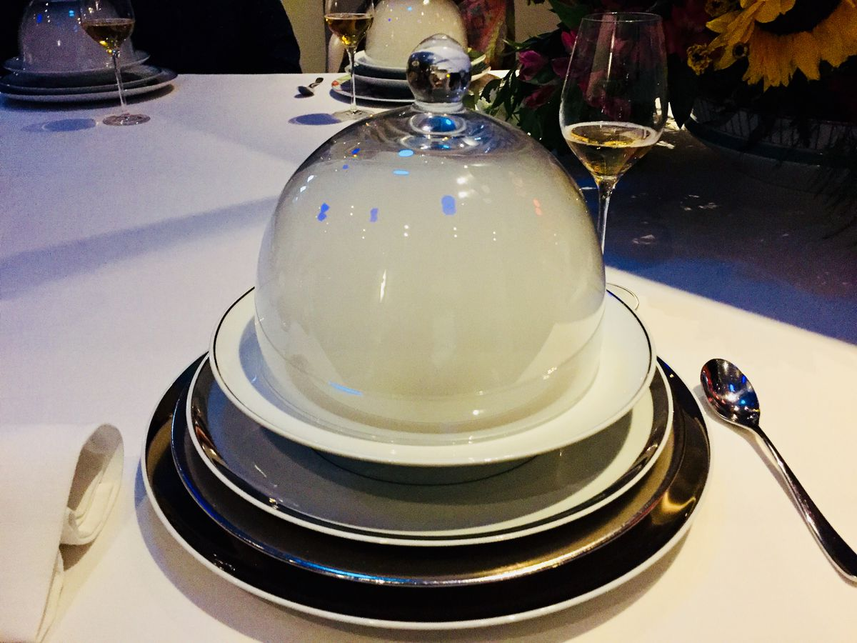 A parsnip soup with osetra caviar covered with a dome containing woodsmoke, part of the sensory experience at Alinea, a Lincoln Park restaurant considered one of the best in the world.   Neil Steinberg/Sun-Times