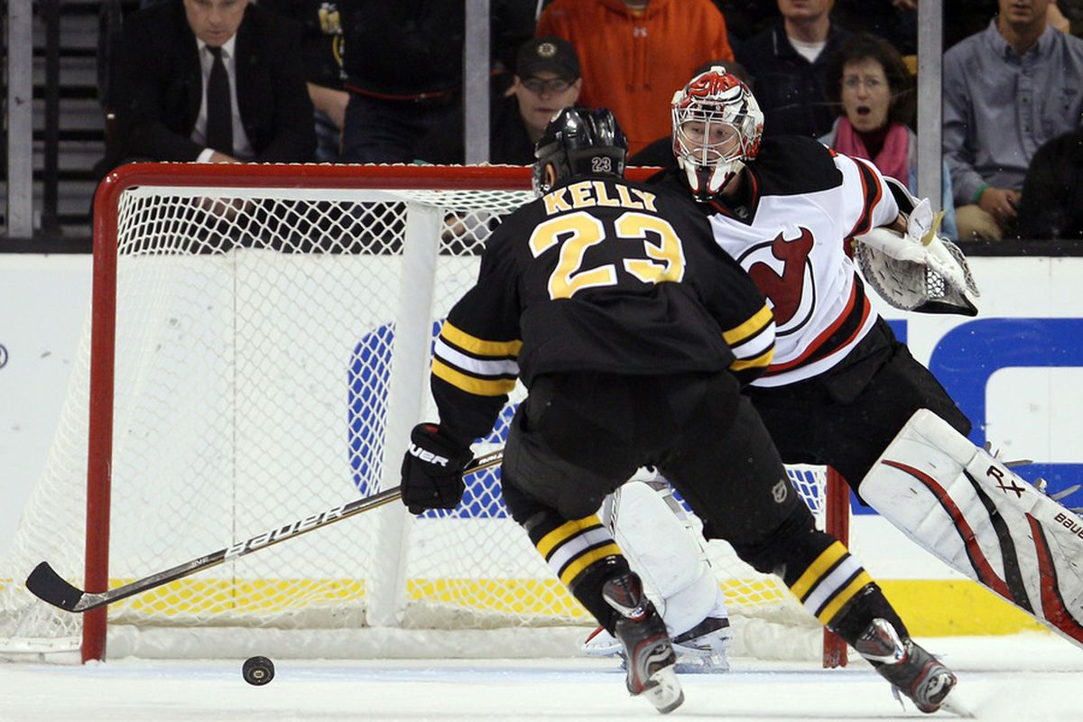 The last time Johan Hedberg faced Boston didn't go so well.  This picture is one reason why.