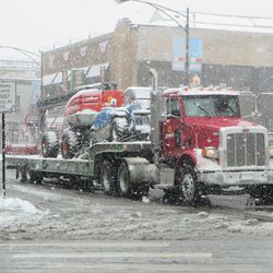 More work equipment being delivered on Clark Street -