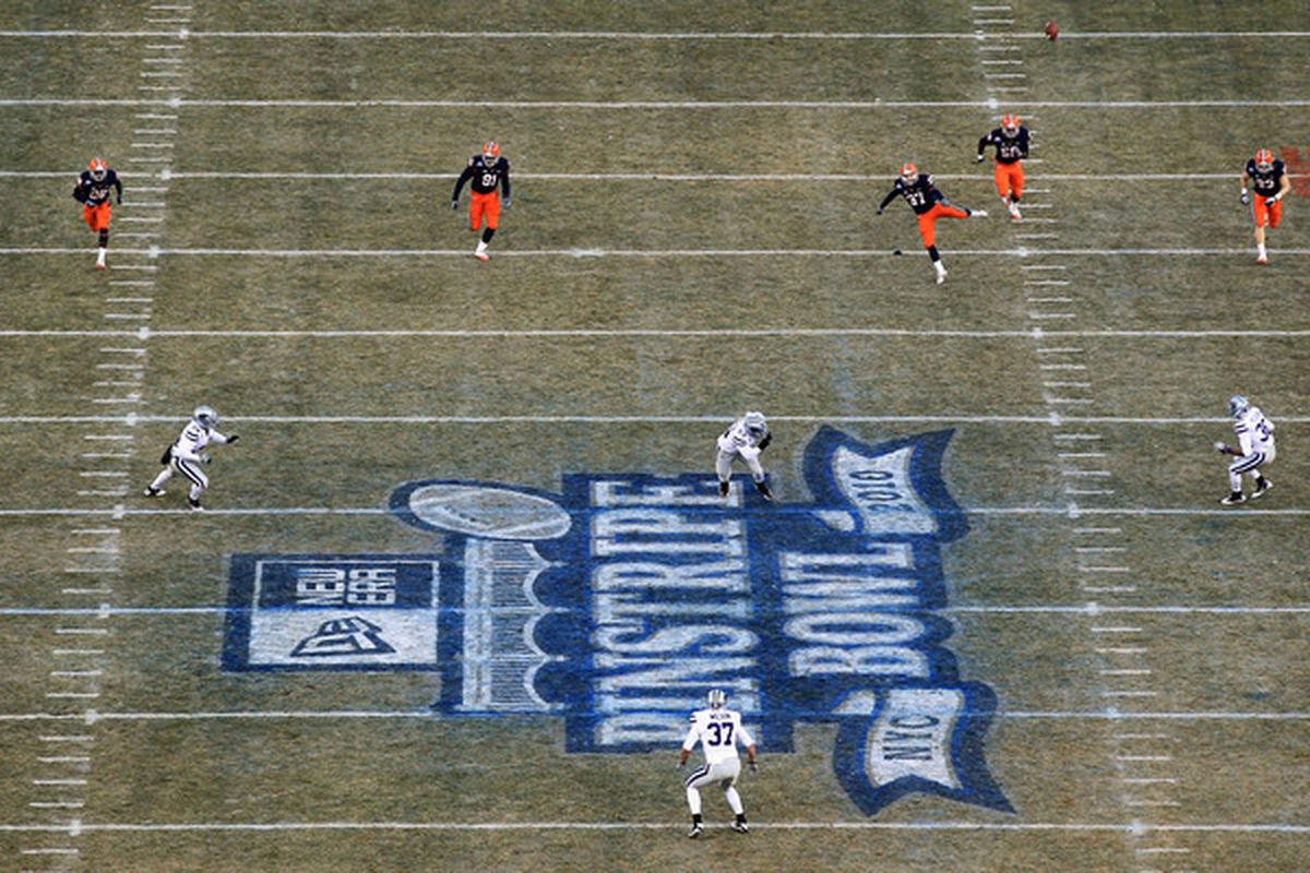 NEW YORK NY - DECEMBER 30:  Ross Krautman #37 of the Syracuse Orange kicks off against the Kansas State Wildcats during the New Era Pinstripe Bowl at Yankee Stadium on December 30 2010 in New York New York.  (Photo by Chris McGrath/Getty Images)