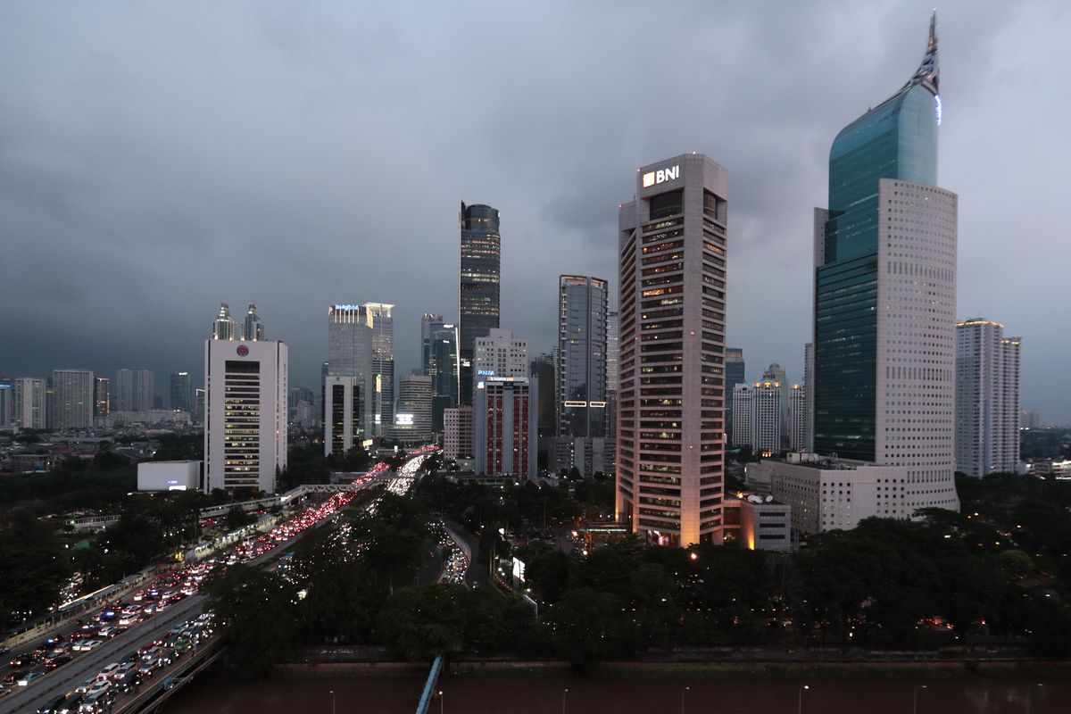 The central business district skyline is seen during the dusk in Jakarta, Indonesia, Monday, April 29, 2019. Indonesia's decades-long discussion about building a new capital has inched forward after President Joko Widodo approved a long-term plan for the