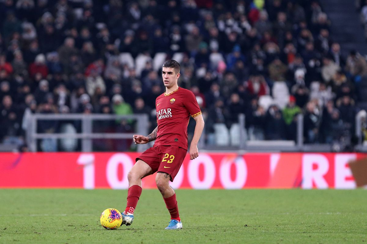 Gianluca Mancini of As Roma in action during the Coppa...