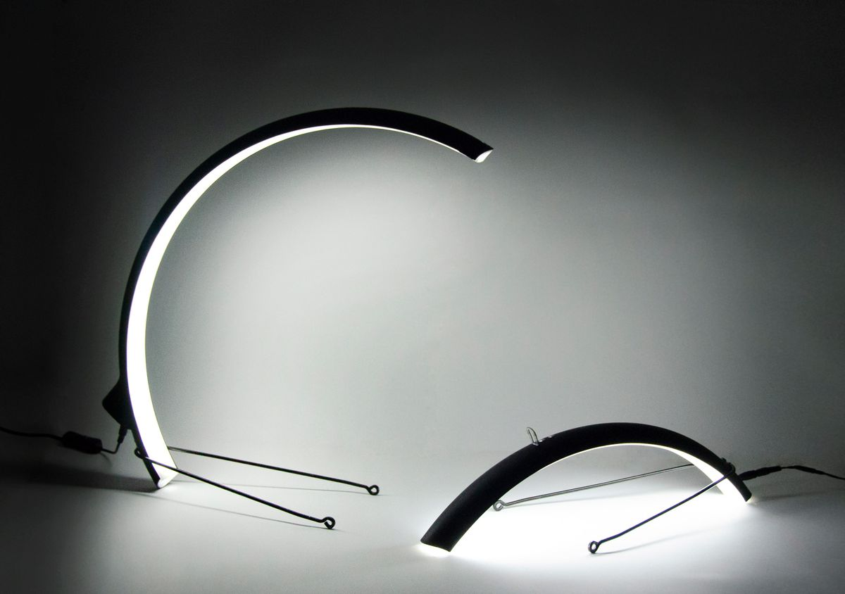 Lamps made from bike mudguards