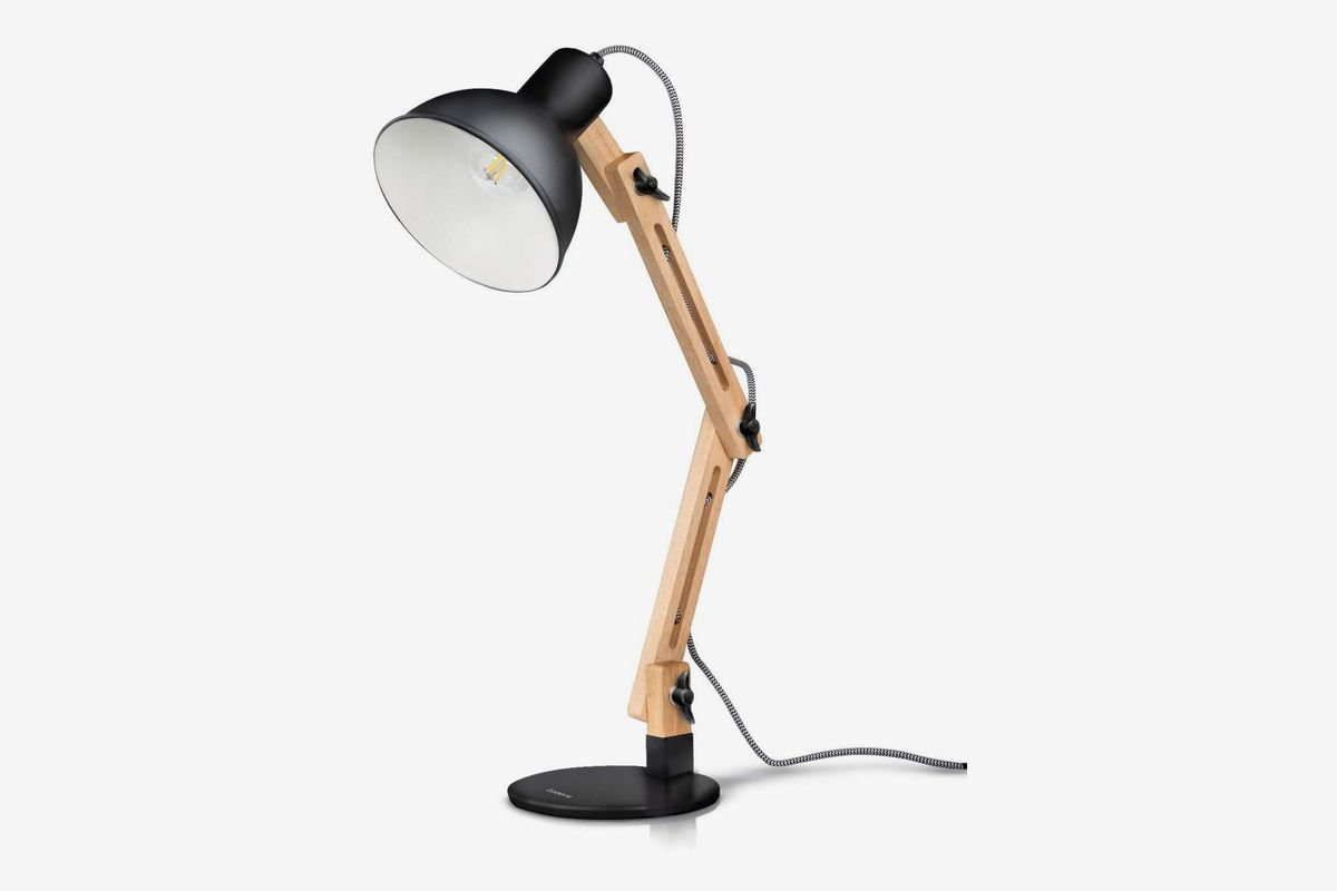 Desk lamp in wood and black.