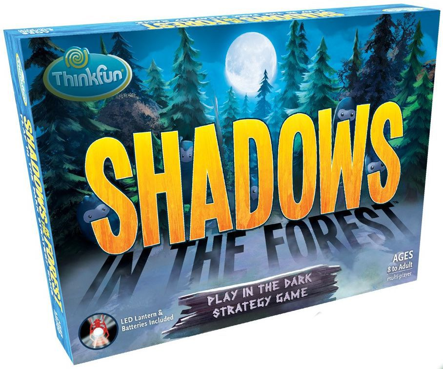 Cover art for Shadows in the Forest shows the title of the game itself casting shadows in an artfully rendered forest.