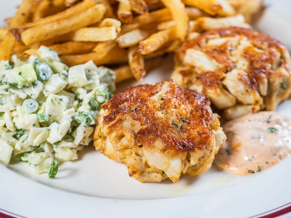 Crab cakes from Patsy's served with slaw