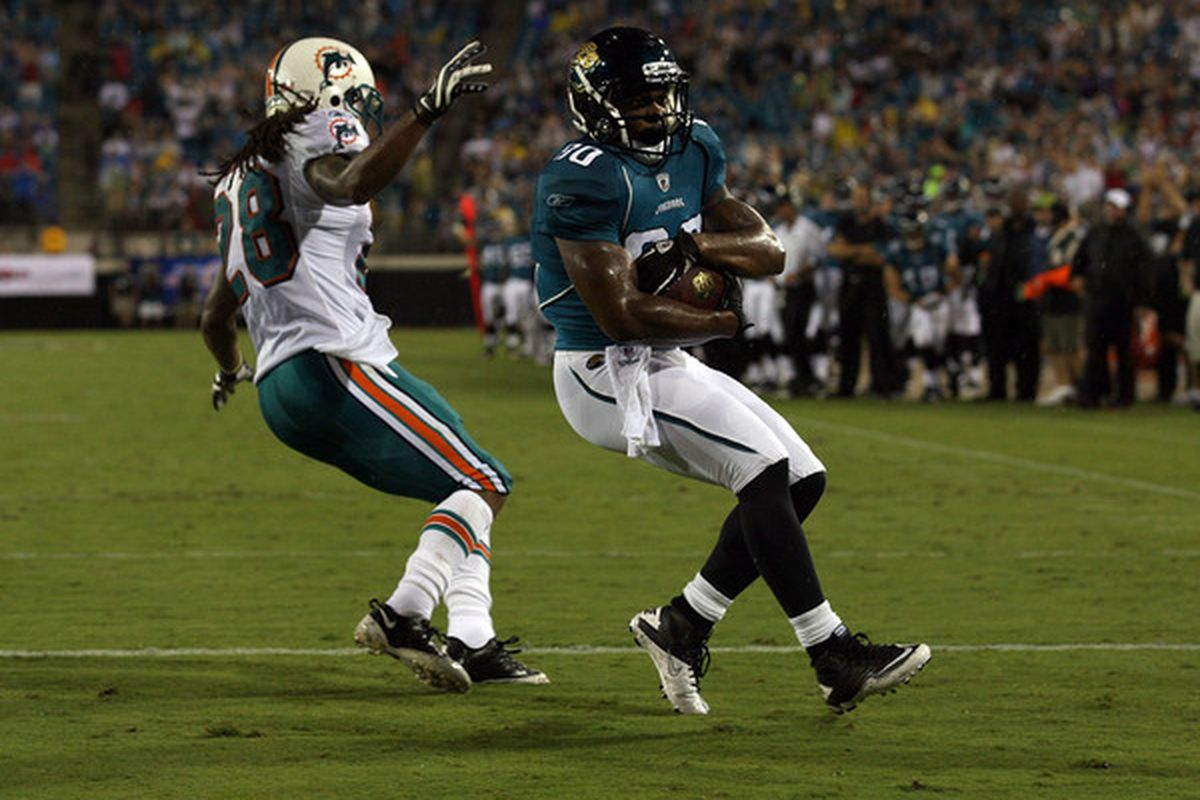 Bodog.com has the over/under for Mike Thomas's 2010 receiving yards set at 500 yards. (Photo by Sam Greenwood/Getty Images)
