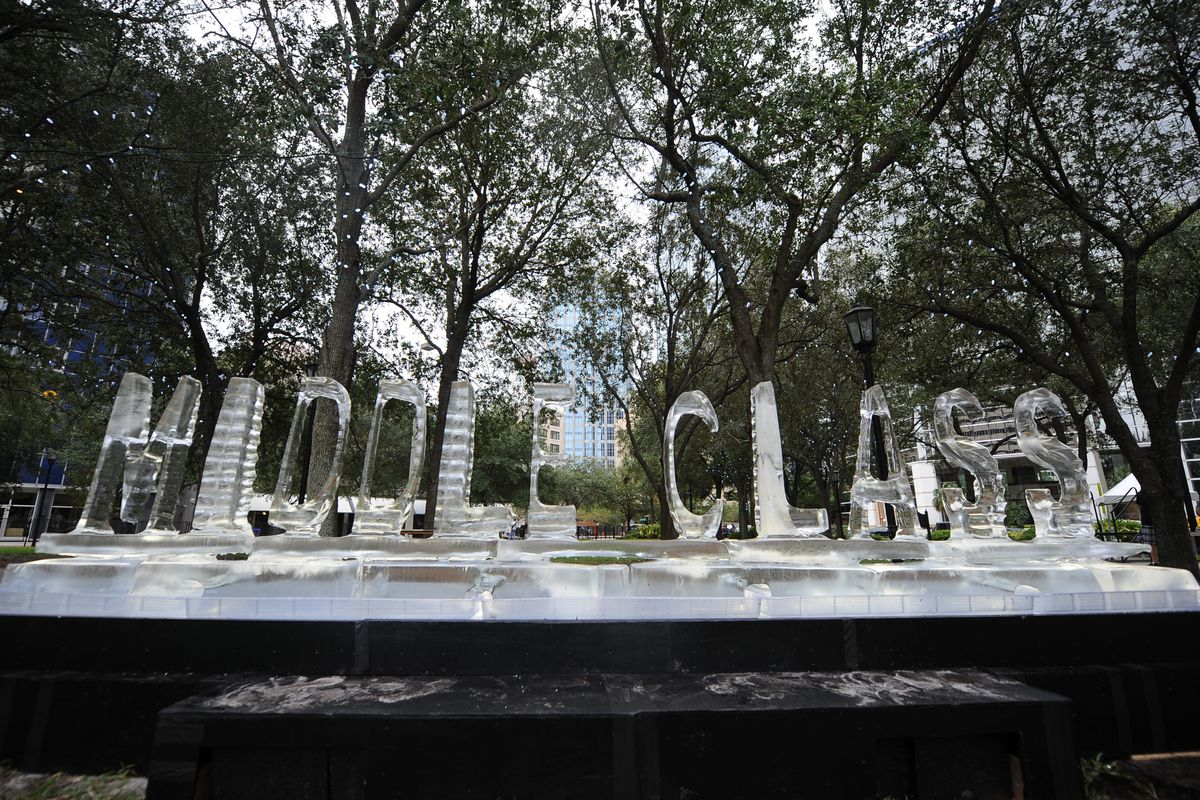 """An ice sculpture of the words """"middle class"""" melts, because metaphors."""