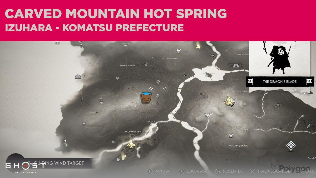 The hot springs location in Komatsu in Ghost of Tsushima