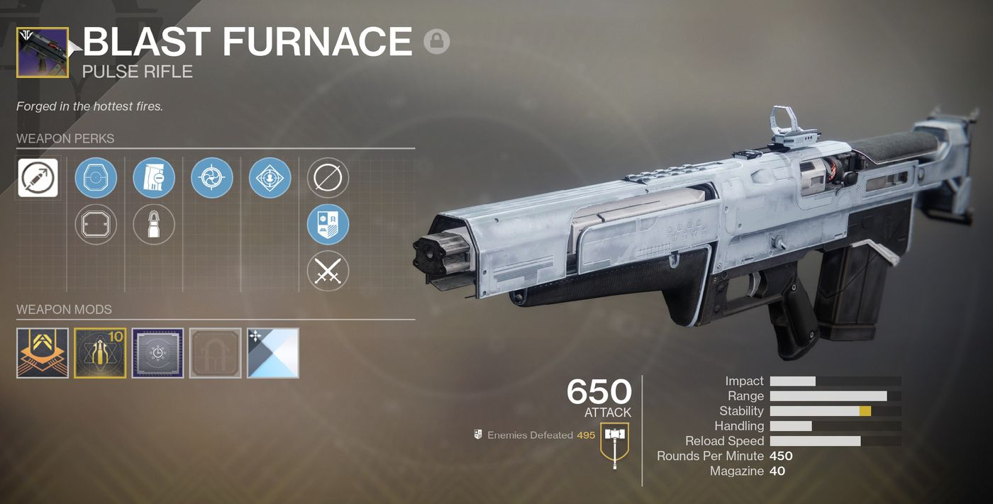 Destiny 2: Black Armory god rolls on the Blast Furnace pulse