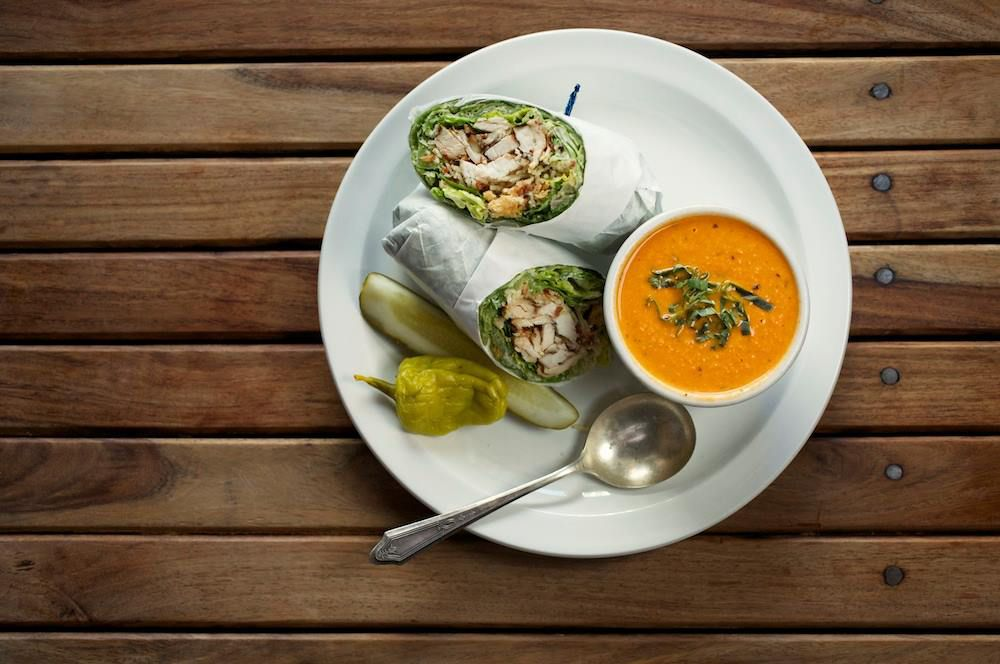 Wrap and soup from Walton's