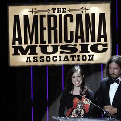 Joy Williams and John Paul White of the Civil Wars speak after receiving the Duo/Group of the Year award at the 11th annual Americana Honors & Awards, Wednesday Sept. 12, 2012, in Nashville, Tenn.