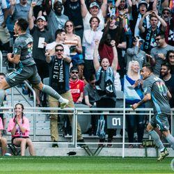 Hassani Dotson celebrates his first professional goal during Minnesota United's 2-3 loss to the Philadelphia Union