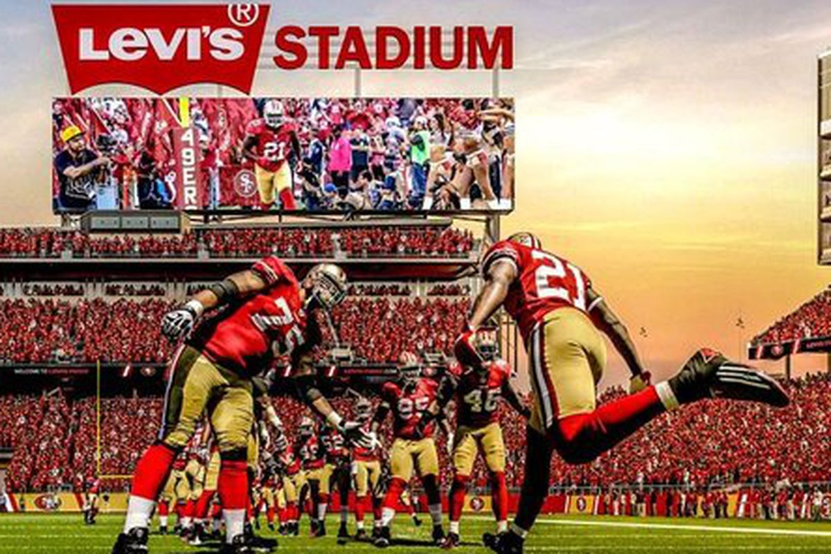 """Image via <a href=""""http://www.ninersnation.com/2013/5/8/4312806/49ers-stadium-naming-rights-details-name-levis-stadium"""">Niners Nation</a>"""