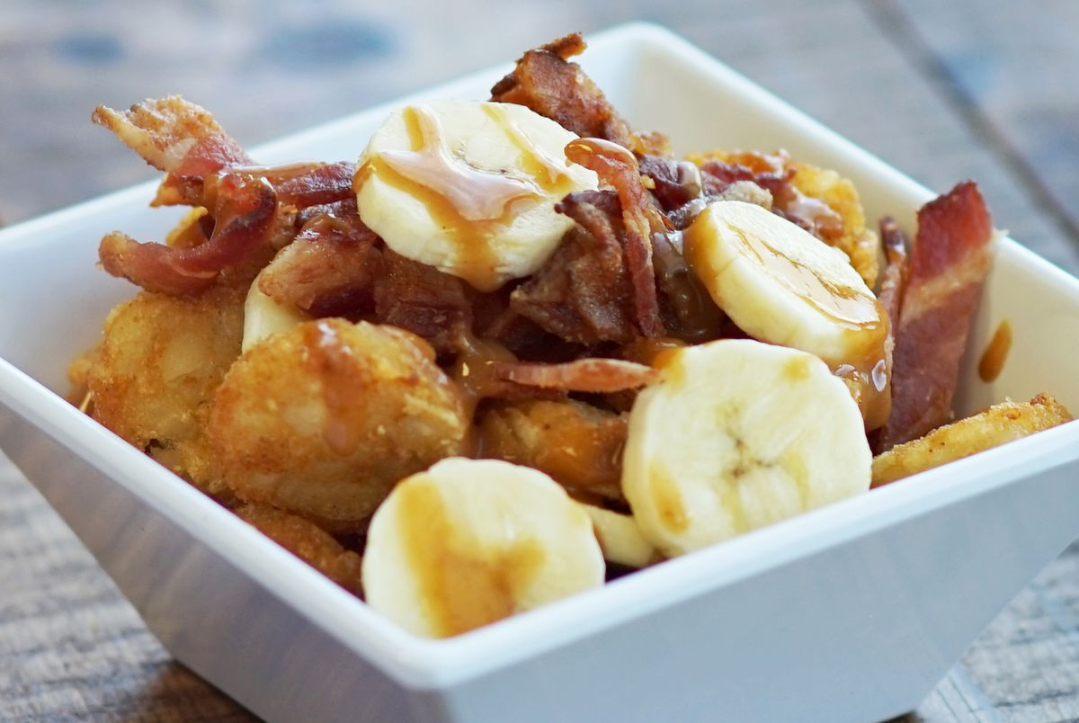 Bananas and tots: the breakfast of State Fair champions.