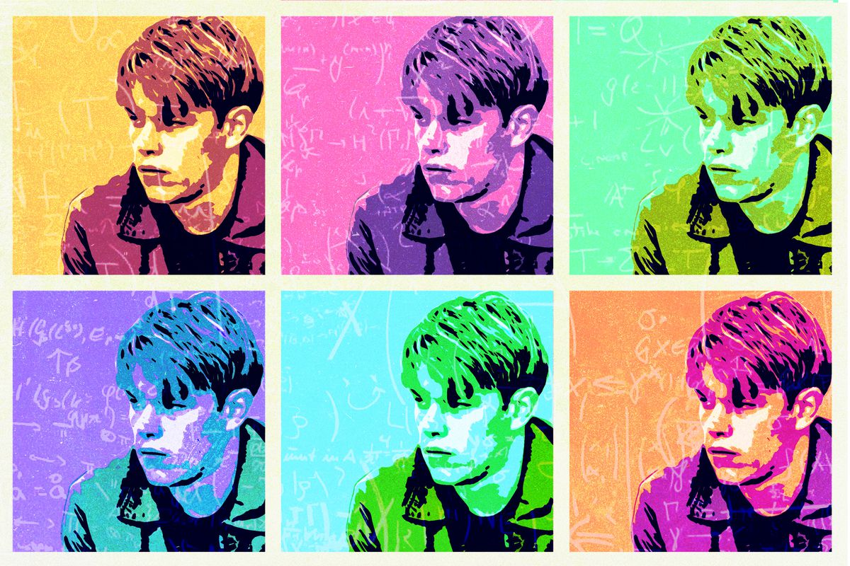 Portraits of Matt Damon in 'Good Will Hunting' in different neon colors