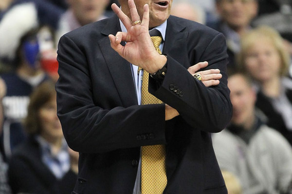 STORRS, CT - NOVEMBER 11:  Jim Calhoun of the Connecticut Huskies reacts during a game against the Columbia Lions  in the first half at Harry A. Gampel Pavilion on November 11, 2011 in Storrs, Connecticut. (Photo by Jim Rogash/Getty Images)