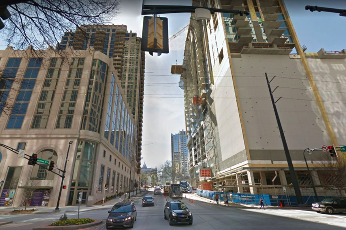 Midtown's West Peachtree Street at 14th Street is unrecognizable from a couple of years ago. Here,Atlantic Houseis on the left andIcon Midtownat right.