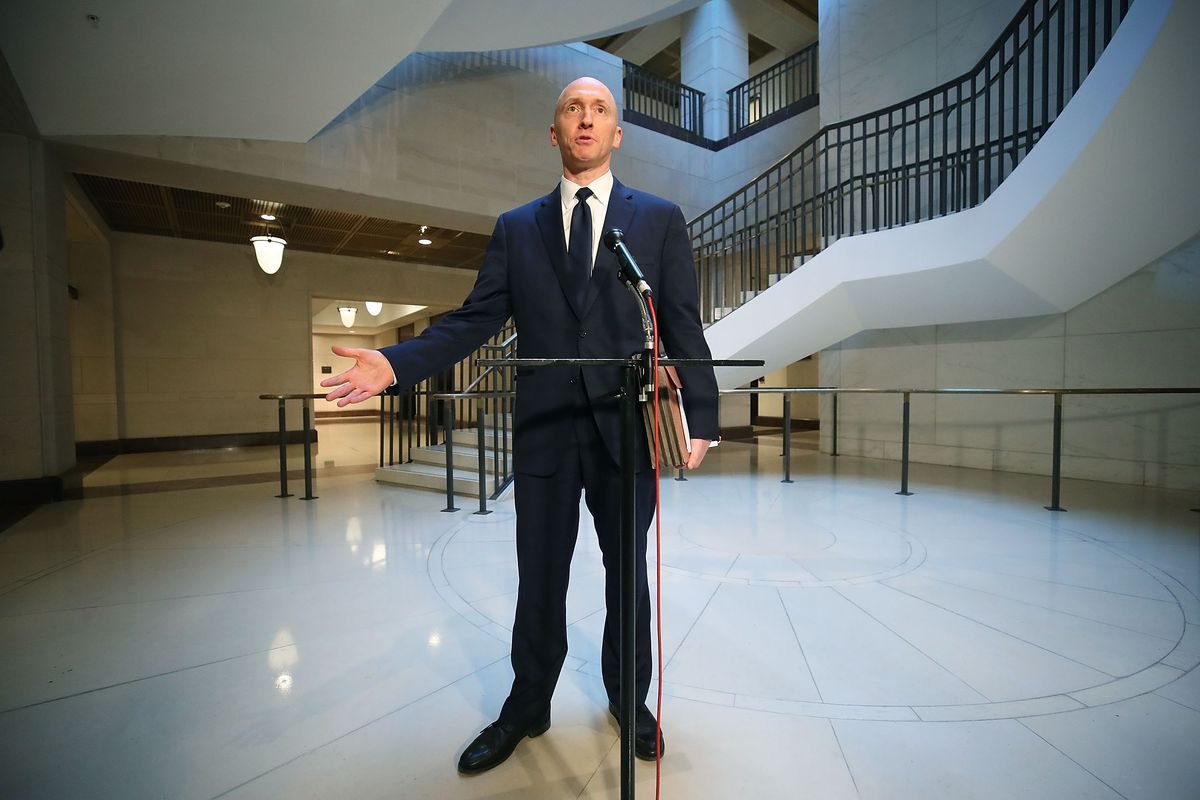 Carter Page, former foreign policy adviser for the Trump campaign, speaks to the media after testifying before the House Intelligence Committee on November 2, 2017 in Washington, DC.