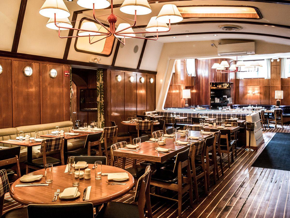 A wood-paneled dining room