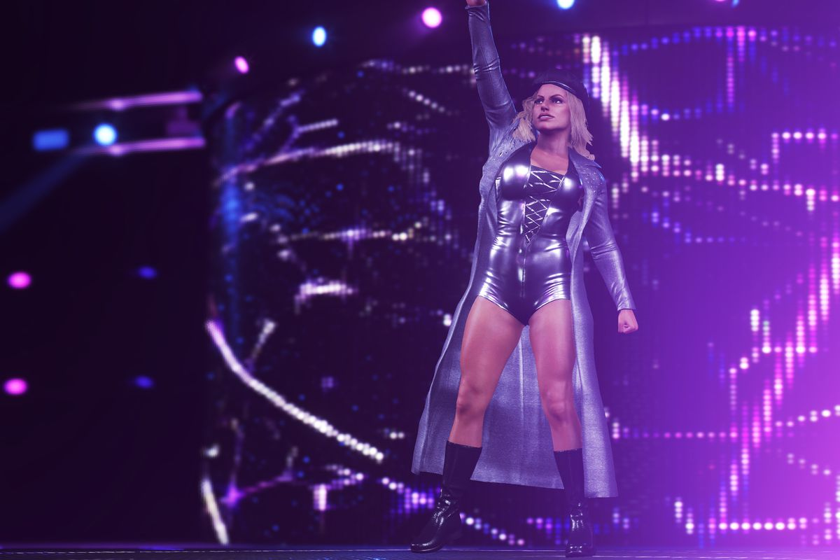 A wrestler makes her entrance to a bout in WWE 2K20