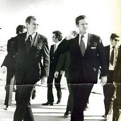 Wayne Owens, left, appears with Sen. Edward M. Kennedy in Utah in 1972.
