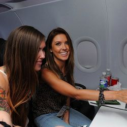 Audrina Partridge and her sister and those bright white seats
