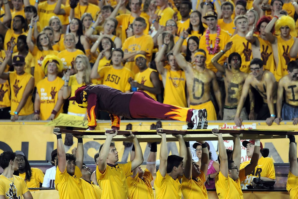 TEMPE, AZ - SEPTEMBER 24:  Sparky does a few push-ups as the Arizona State Sun Devil Fans cheer on against the University of Southern California Trojans at Sun Devil Stadium on September 24, 2011 in Tempe, Arizona.  (Photo by Norm Hall/Getty Images)