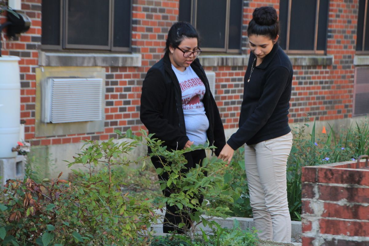 """Students mill outside of Kingsbury High School in this 2016 photo. Kingsbury serves a significant number of immigrant students in Memphis, and many participated Thursday in nationwide protests to highlight what """"A Day Without Immigrants"""" is like."""
