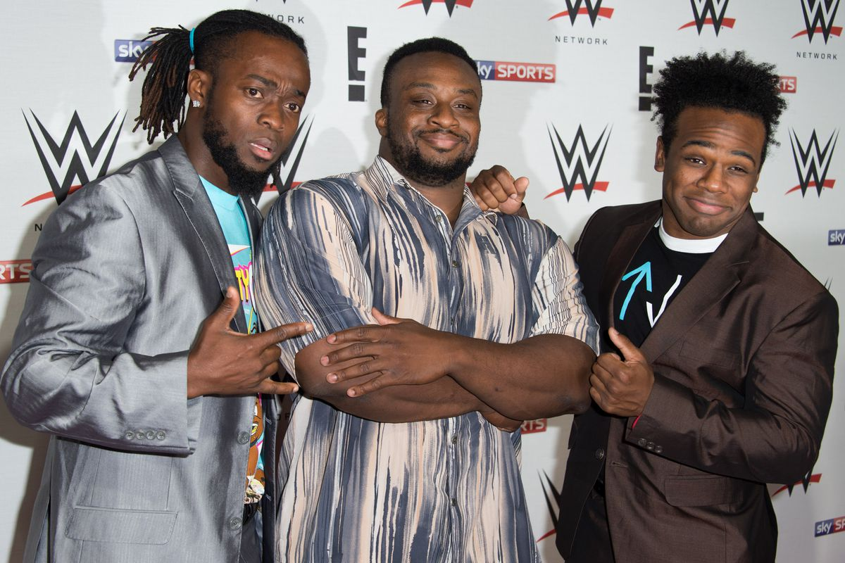 Kofi Kingston, Big E and Xavier Woods of 'New Day' arrive for WWE RAW at 02 Brooklyn Bowl on April 18, 2016 in London, England.
