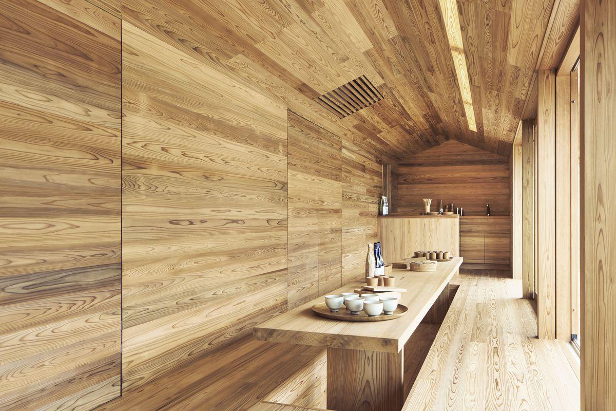 The interior of a Samara project in Japan, the Yoshino Cedar House.
